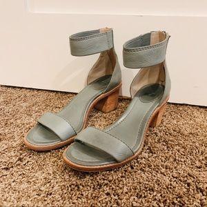 Frye Teal Leather Backzip Sandal